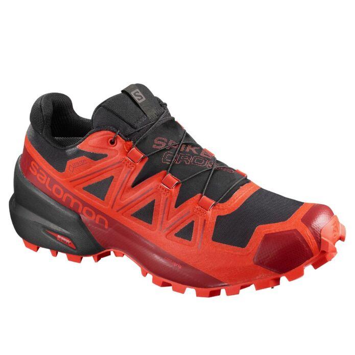 Оригинальные кроссовки SALOMON SPIKECROSS 5 GTX Черно-Красные