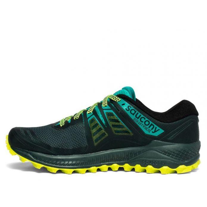 Оригинальные кроссовки Saucony Peregrine ISO M Черно-Зеленые