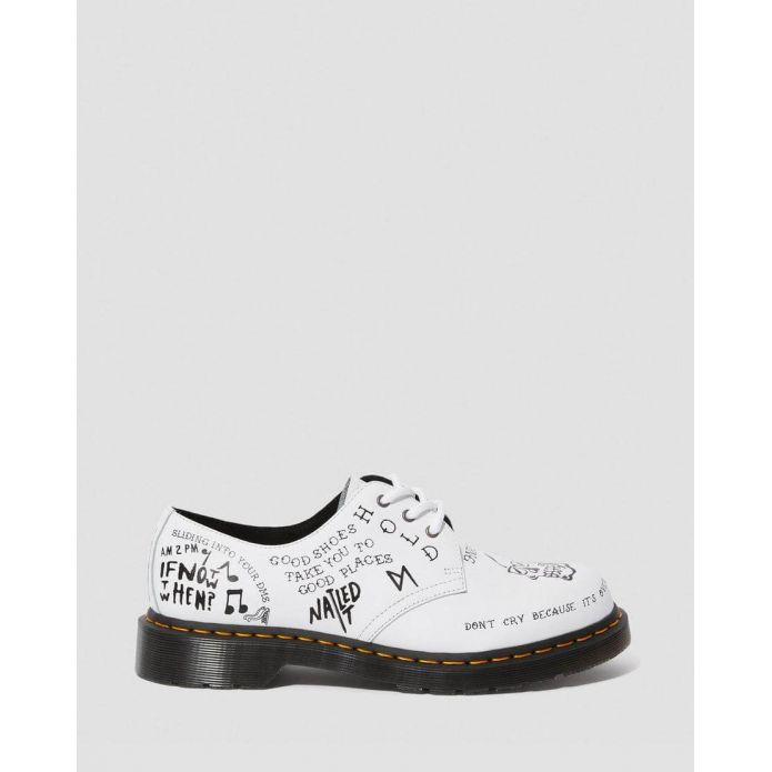 Оригинальные кроссовки Dr. Martens 1461 SCRIBBLE WHITE BLACK 25246101