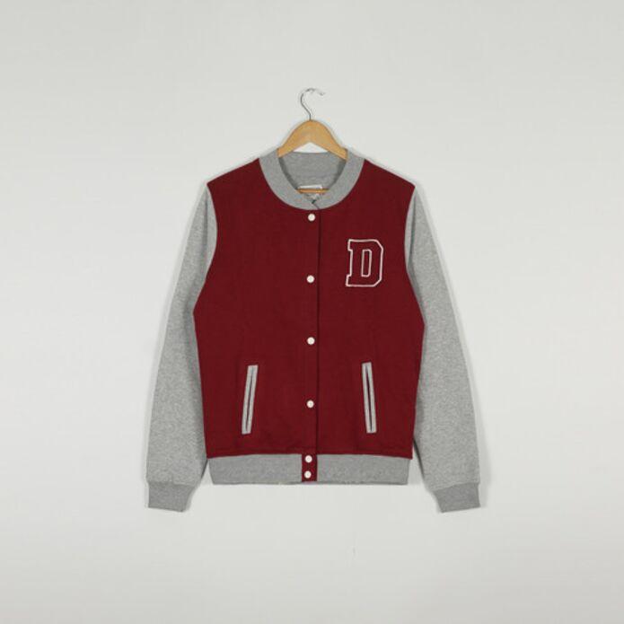 Бейсбольная куртка DISLABEL бордовый/серый