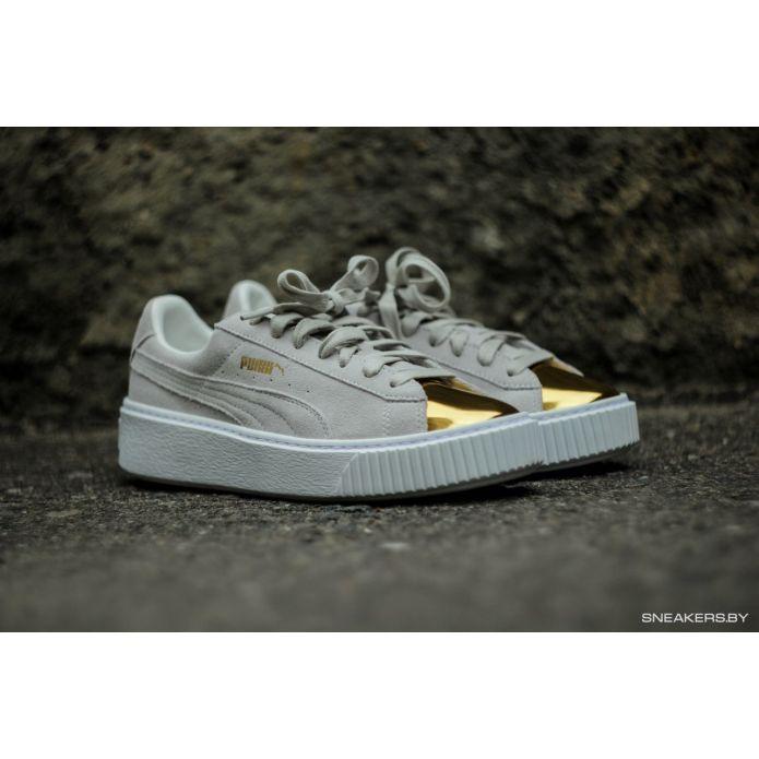 кроссовки Puma Suede Platform Gold Toe
